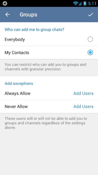 ADD کردن خود در گروه و کانال های تلگرام را مسدود کنید