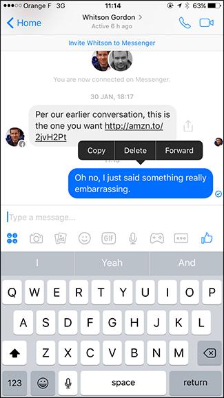 نحوهی حذف یک پیغام در فیسبوک