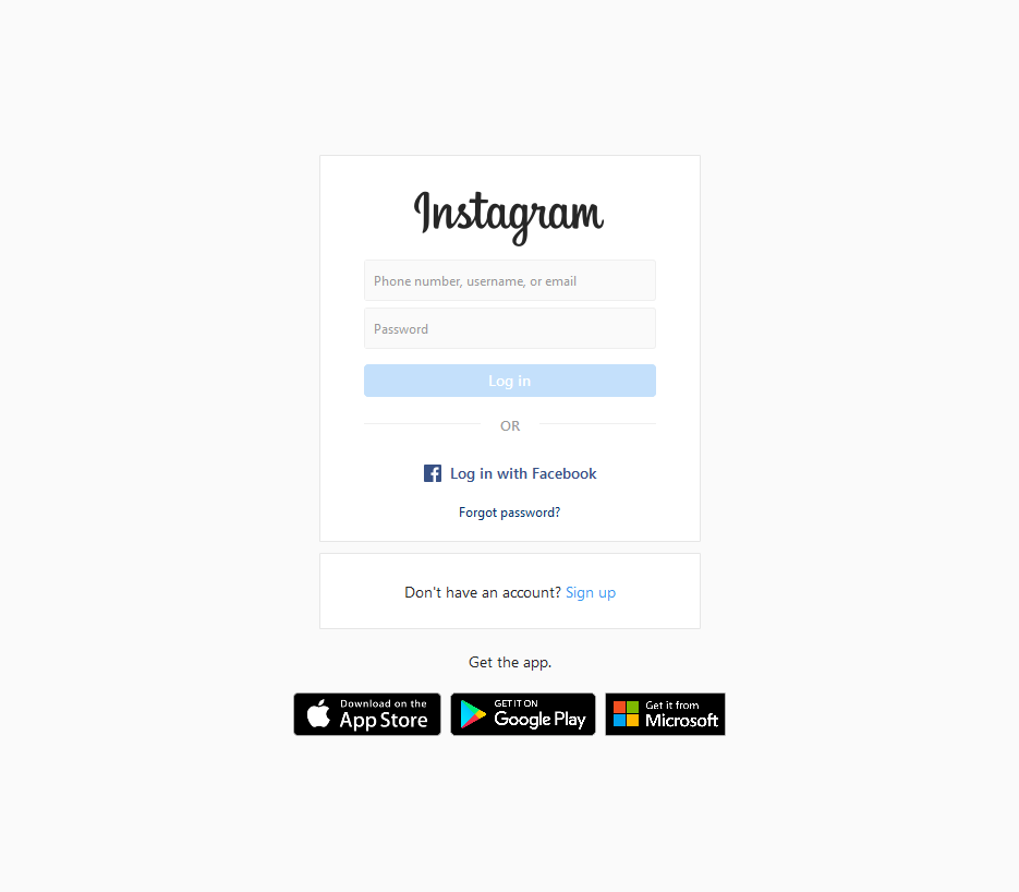 instagram login page